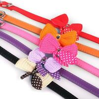 Adjustable Bowknot Leather Dog Pet Collars Necklace Small Medium Large Puppy