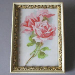 "Antique c1890s Petite 7"" Decorative GILT Wood + Gesso Frame PINK ROSES C Klein"