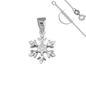 925 Sterling Silver Cubic Zirconia Snowflake Pendant Necklace Christmas SALE