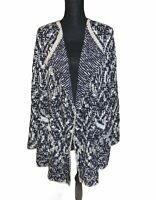 Lucky Brand Women's Blue And Beige Chunky Open Front Cardigan Size Large