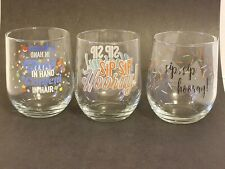 New listing Celebration Stemless Wine Glasses 16 oz. - Set of 3