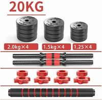 Dumbbells Barbell Set 20KG With Connecting Rod Adjustable Lifting Training GYM