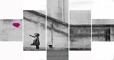 Large 5 Panel Set Pink Banksy Balloon Girl Hope Canvas Picture Wall Art Prints