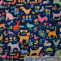 BonEful Fabric FQ Cotton Quilt Blue Flower Farm Animal Rooster Chicken Cat Dog S