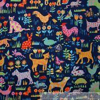 BonEful Fabric FQ Cotton Quilt Blue Flower Farm Animal Rooster Chicken Cat Dog S