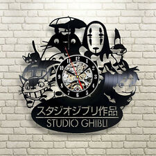 Anime Studio Ghibli Handmade Vinyl Record Modern Vintage  Wall Clock