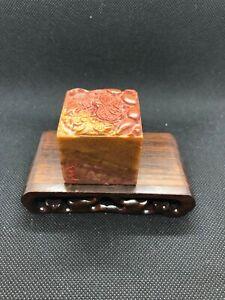 "Exquisite Chinese Calligraphy Seal Shou Shan Stone—寿山高山冻石 ""莲莲藕鱼""闲章 一庄水竹数房书"