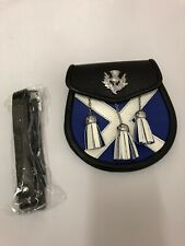 More details for saltire flag silver thistle leather gents  sporran with leather straps and chain