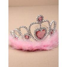 Silver Heart Girls Tiara Pink Fur Trim Crown Birthday Parties Fancy Dress