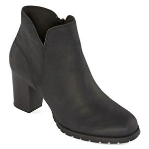Clarks Womens Verona Trish Booties Block Heel Boots Black Leather Brand New