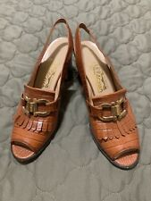 Very Rare Vintage Salvatore ferragamo Square Pumped, Alligator Slingbacks