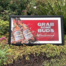 "Budweiser Beer Bar Mirror Grab Some Buds Man Cave Pub  ""New Sign Anheuser Busch"