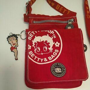 Betty Boop Retro Red Messenger Bag Keychain Classic Crossbody Shoulder Purse