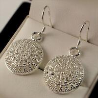 925 Stamped Silver Plt Filigree Round Disc Dangle Drop Earrings UK 333