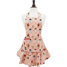 JESSIE STEELE Vintage Style Apron CHERRY SUNDAES 100% Cotton ICE CREAM CONE PINK