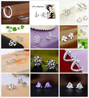 Women Lady Girl Gift 925 Sterling Silver Plated CZ Crystal Earrings Many Design