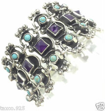 Silver Amethyst Turquoise Bracelet Mexico Vintage Design Taxco Mexican Sterling