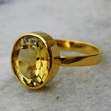 Natural Citrine Gemstone 14K Yellow Gold Handmade Wedding Gift Ring Size 7