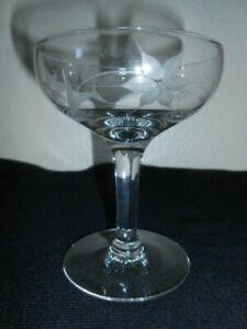 Vintage Etched 4 OZ Crystal Champagne Sherbet Glass FLORAL Design FREE SHIP!