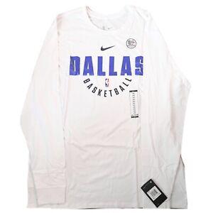 NWT Nike Mens Dallas Mavericks Tee Shirt Dri-Fit Long Sleeve White