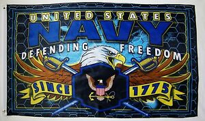United States Navy Defending Freedom Flag 3' x 5' Officially Licensed Banner