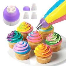 Portable 3 Color Cake Baking Cream Piping Nozzle Converter Decor Bakery Home Kit