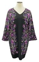 INC Int'l Concepts 2X Black Bamboo Blossom Long Sleeve V-neck Shift Dress
