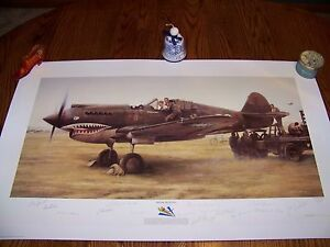 """""""SHARK SIGHTING"""" by John Shaw SIGNER'S PROOF signed by 15 original Flying Tigers"""