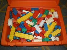 Vintage Fisher Price Construx Red Case filled with duplos building toy