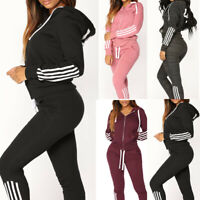 Women 2pcs Tracksuit Hoodies Sweatshirt Pants Set Sport Jogging Wear Casual Suit