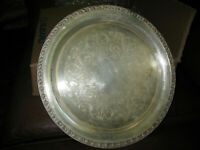 Tupperware Rose Wm Rogers IS Silver Plate 13 in Round Serving Platter