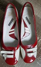 61-Belmondo edle Pumps Gr. 6,5/40 wie NEU 4 cm Absatz rot weiß