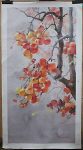 "Artwork Persimmon tree painting original oil on canvas signed in stock 24""x48"""