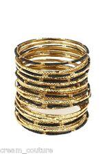 Amrita Singh Eileen Black & Gold 33 Piece Bangle Set Size 8 NEW $100 BBM679