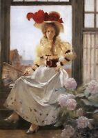 PRETTY LADY in Hat with red bow near window by Flameng New Postcard