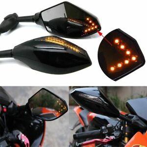 Motorcycle LED Turn Signal Indicator Mirrors For Kawasaki ZX6R 636 9R 10R ex250