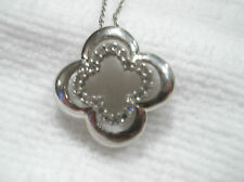 "ALWAND VAHAN Sterling Silver PAVE  DIAMOND Quatrefoil Pendant 18"" Necklace"