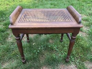 Trendy Side Table Rattan Top Walnut Stain Antique Vintage Sikes Chair Co.