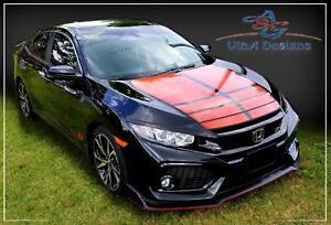 Honda Civic Hood Racing Stripes Kit   2016 - 2020