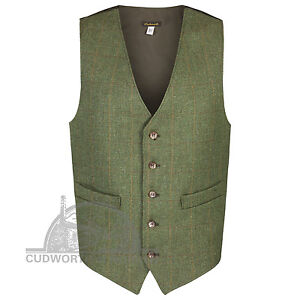 """British made tweed waistcoat 36 """"to 52"""" chest Deluxe quality traditional style"""