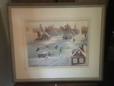 framed painting snow children playing hockey signed Robert David Simpson