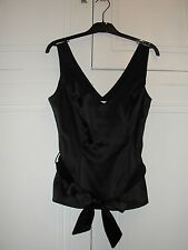 Wallis Black Satin Look Evening Top with removable belt