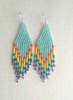 Native Turquoise Earrings Rainbow Beaded Earrings Long Seed Bead earrings