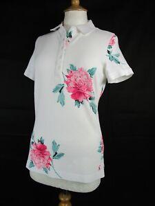BNWT Joules White Floral Dunsden Polo Shirt UK Size 12