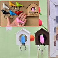 1PC Creative Bird Nest Sparrow House Key Chain Rings Wall Hook Holders Cute JF