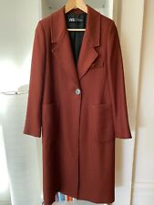Zara Maroon Long Collar Coat With Button - New with Receipt $179 - Size XS