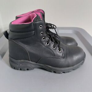 Brahma Women's Size 7 Shoes Black/Pink Leather Lace Up Steel Toe Work Boots
