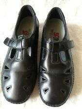 WOMEN'S SAS TRIPAD COMFORT BLACK LEATHER SHOES SIZE 7.5 M ADJUST STRAP CLOSURE