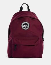 Hype Mens/Boys Crest Embroidered Burgundy Backpack With Zip Fastening