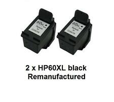 2 x Rem HP60XL CC641WA black ink cartridges for HP D2560,D5560,F2400,F4200,F4400